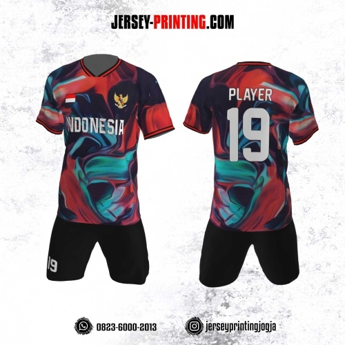 Jersey Futsal Motif Tumpahan Cat Merah Biru