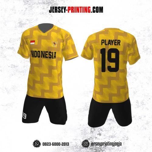 Jersey Futsal Motif Zigzag Kuning Kunyit