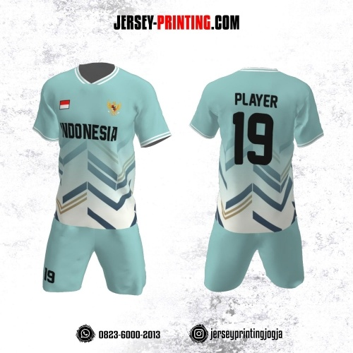 Jersey Futsal Motif Zigzag Mint