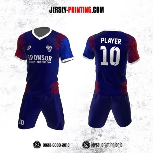 Jersey Futsal Navy Merah Motif Trigonal