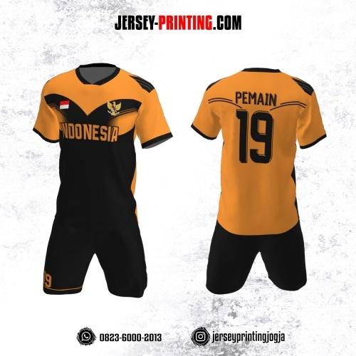 Jersey Futsal Orange Corak Hitam