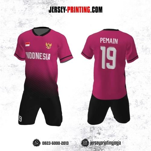 Jersey Futsal Pink Hitam Motif Garis