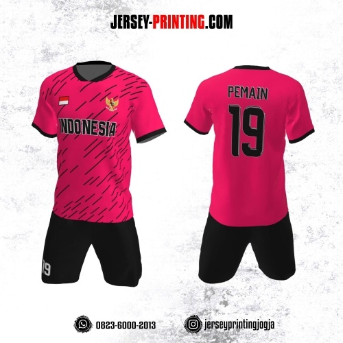 Jersey Futsal Pink Magenta Motif Strip Hitam
