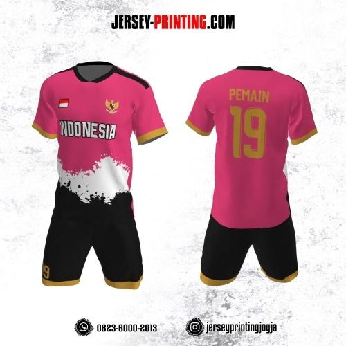 Jersey Futsal Pink Motif Brush Hitam Putih