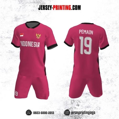 Jersey Futsal Pink Motif Garis Hitam