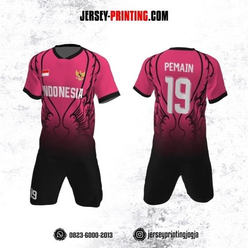 Jersey Futsal Pink Motif Sayap Hitam