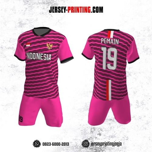 Jersey Futsal Pink Motif Strip Hitam