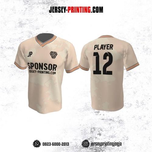 Jersey Futsal Pink Pudar Garis Abu-abu Orange