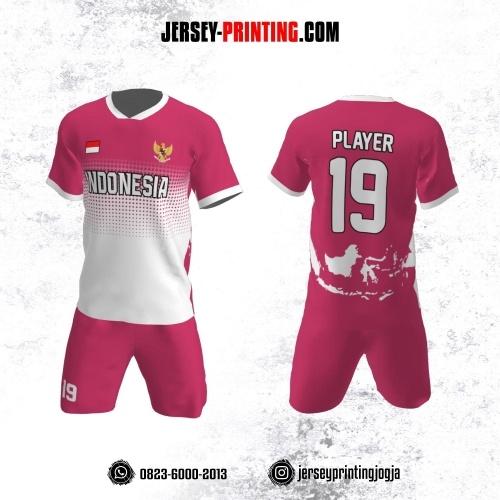 Jersey Futsal Pink Putih Motif Polkadot dan Peta Indonesia