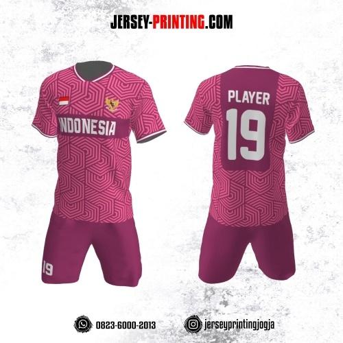 Jersey Futsal Pink Putih Motif Seamless
