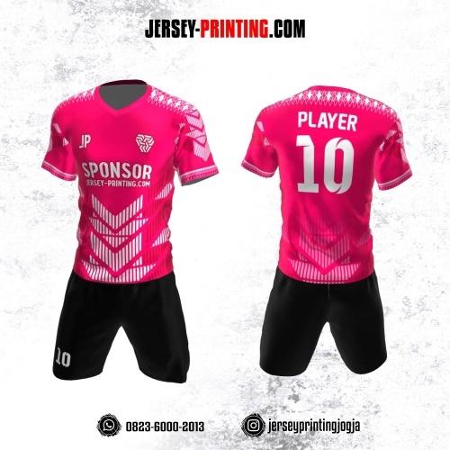Jersey Futsal Pink Putih Motif Strip