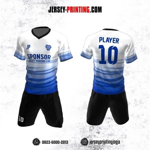 Jersey Futsal Putih Biru Hitam Motif Loreng