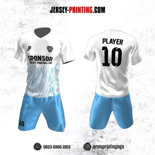 Jersey Futsal Putih Biru Motif Abstrak