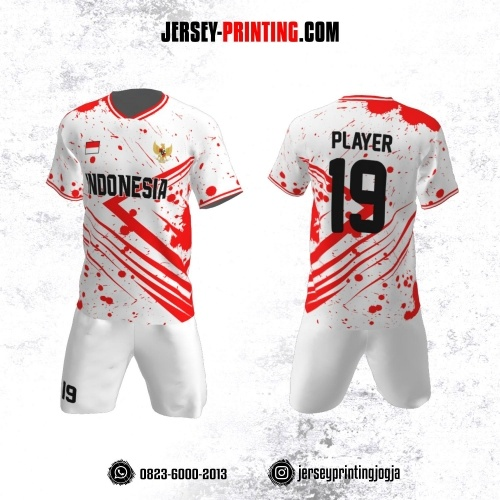 Jersey Futsal Putih  Brush Merah Strip