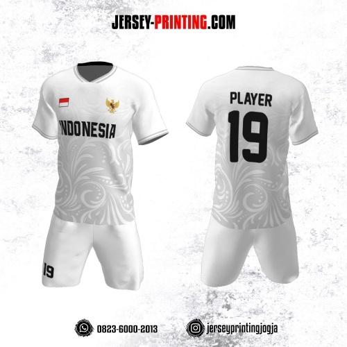 Jersey Futsal Putih Corak Batik Abu-abu