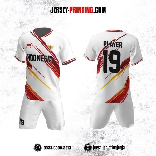 Jersey Futsal Putih Corak Merah