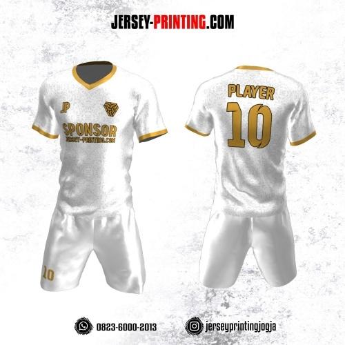Jersey Futsal Putih Kuning Motif Batik