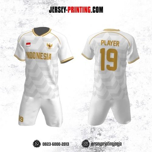 Jersey Futsal Putih Kuning Motif Chevron