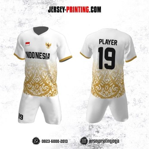 Jersey Futsal Putih Motif Batik Gold