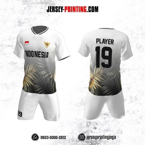 Jersey Futsal Putih Motif Daun Abu-abu Light Gold