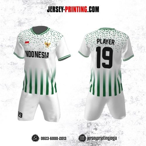 Jersey Futsal Putih Strip Hijau