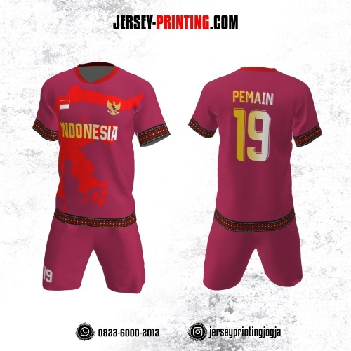 Jersey Futsal Ungu Merah Motif Batik dan Pola Pulau Sulawesi