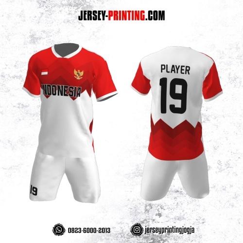 Jersey Futsal Zigzag Merah Putih