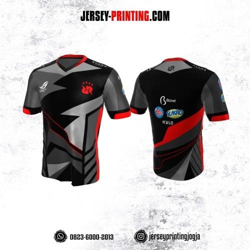 Jersey Gaming Esports Abu-abu Corak Hitam Merah