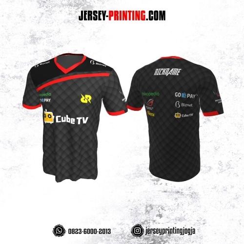Jersey Gaming Esports Abu-abu Hitam Merah Motif Geometris