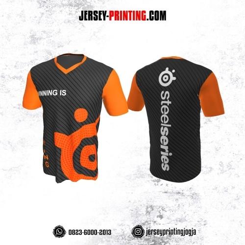 Jersey Gaming Esports Abu-abu Orange Motif Stripe Diagonal Hitam