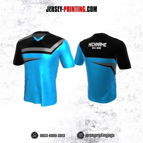 Jersey Gaming Esports Biru Corak Hitam Abu-abu