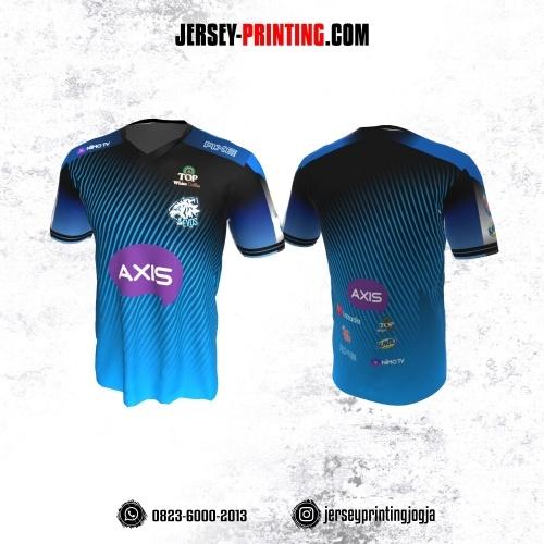 Jersey Gaming Esports Biru Hitam Motif Stripe