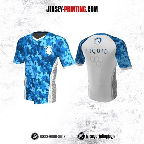 Jersey Gaming Esports Biru Putih Abu-abu Motif Abstrak