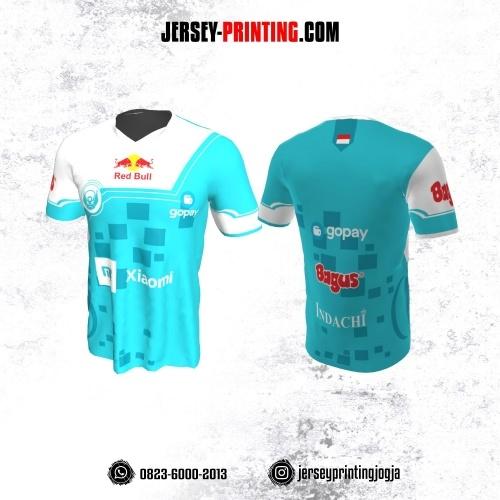 Jersey Gaming Esports Biru Putih Motif Geometris