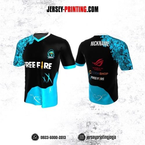 Jersey Gaming Esports Hitam Biru Motif Doodle Art