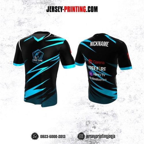 Jersey Gaming Esports Hitam Biru Motif Polkadot