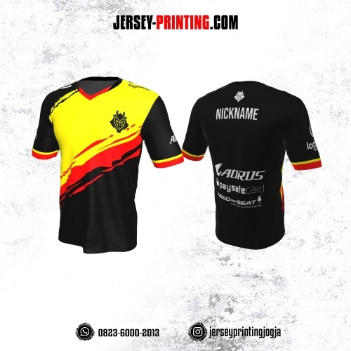 Jersey Gaming Esports Hitam Brush Kuning Merah