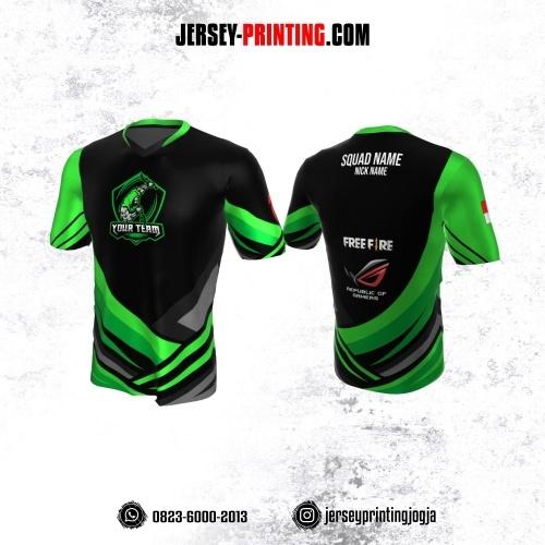 Jersey Gaming Esports Hitam Corak Hijau Abu-abu