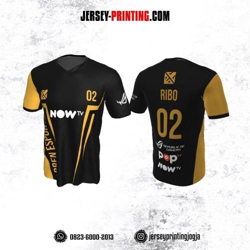 Jersey Gaming Esports Hitam Corak Kuning Emas