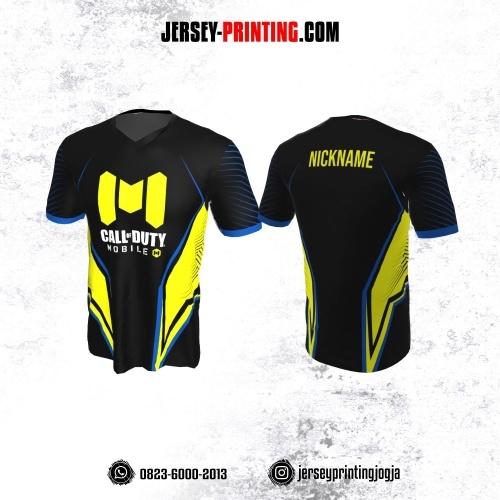 Jersey Gaming Esports Hitam Corak Kuning Line Biru