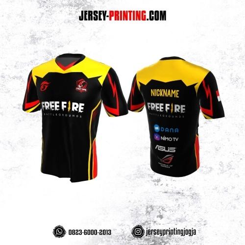 Jersey Gaming Esports Hitam Corak Kuning Merah