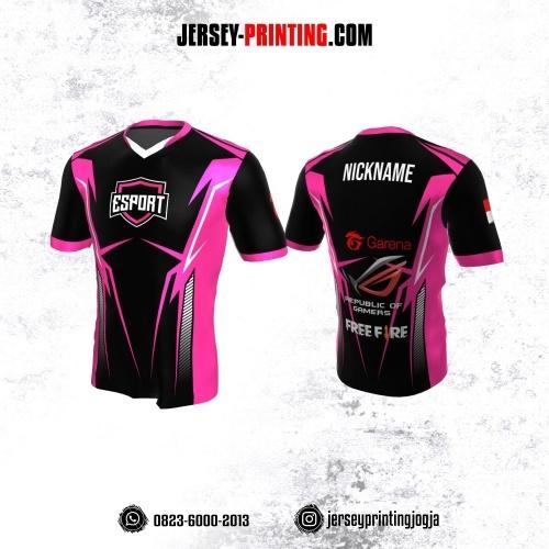 Jersey Gaming Esports Hitam Corak Pink Putih