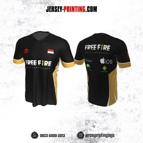 Jersey Gaming Esports Hitam Kuning Motif Polkadot Abu-abu