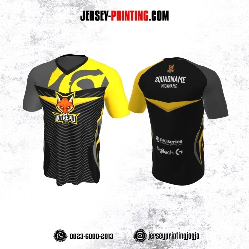 Jersey Gaming Esports Hitam Kuning Strip Abu-abu