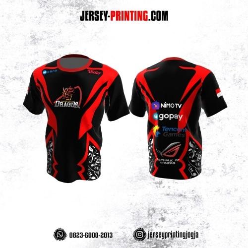 Jersey Gaming Esports Hitam Merah Motif Floral Putih