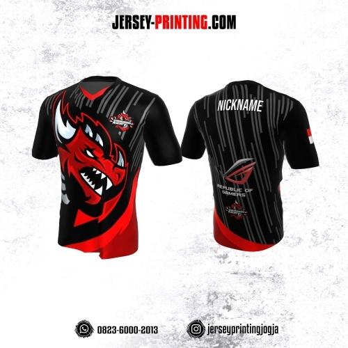 Jersey Gaming Esports Hitam Merah Motif Strip Abu-abu