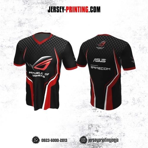Jersey Gaming Esports Hitam Merah Putih Motif Geometris