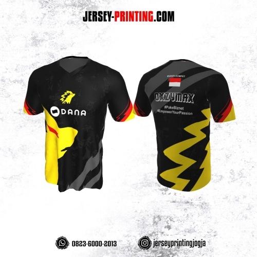 Jersey Gaming Esports Hitam Motif Kilat Kuning Abu-abu Merah