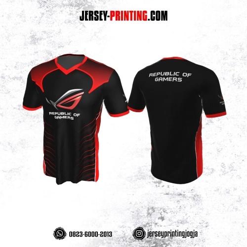 Jersey Gaming Esports Hitam Motif Loreng Merah