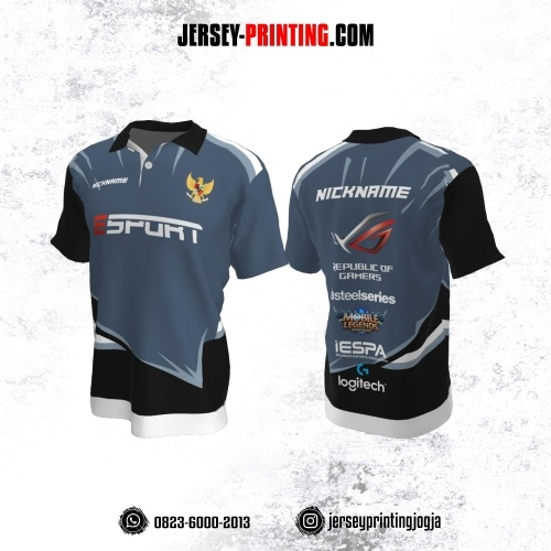 Jersey Gaming Esports Kerah Polo Abu-abu Corak Hitam Putih